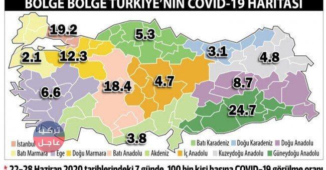 خريطة انتشار فايروس كورونا في تركيا